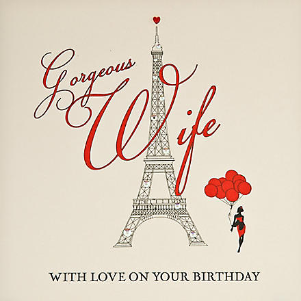 FIVE DOLLAR SHAKE Eiffel Tower Gorgeous Wife birthday card
