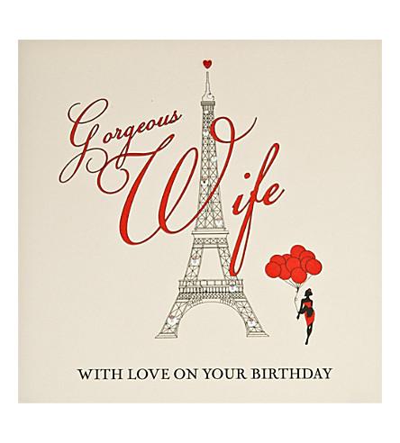 FIVE DOLLAR SHAKE Eiffel Tower Gorgeous Wife birthday card