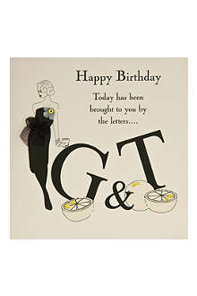 FIVE DOLLAR SHAKE G and T Happy Birthday card