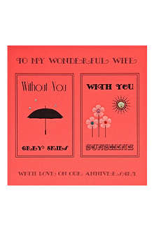 FIVE DOLLAR SHAKE Wife with you without you anniversary card