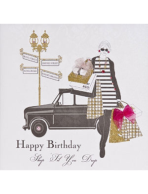 FIVE DOLLAR SHAKE Shop 'til you drop birthday card