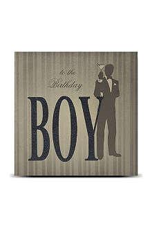 FIVE DOLLAR SHAKE Birthday boy glitter card