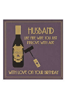 FIVE DOLLAR SHAKE Husband Fine Wine birthday card