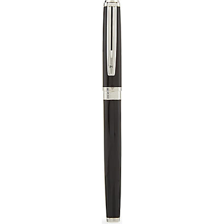 WATERMAN Exception Slim black lacquer silver trim rollerball