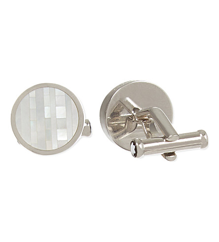MONTBLANC Round steel and mother of pearl cufflinks