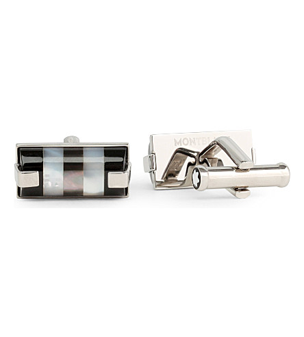 MONTBLANC Square steel and mother of pearl cufflinks