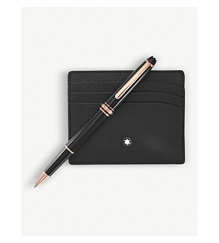 MONTBLANC Meisterstück 163 rollerball pen and leather card holder set