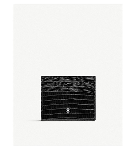 Six slot textured leather card holder(116296)