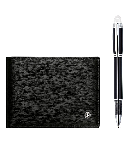 MONTBLANC StarWalker Platinum fineliner pen and Westside leather 6CC wallet set