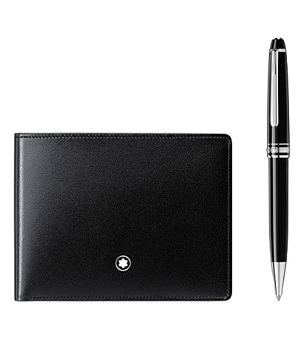 MONTBLANC Meisterstück Platinum Classique ballpoint pen and Meisterstück leather 6CC wallet set