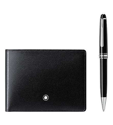 MONTBLANC Meisterstück Platinum Classique ballpoint pen and Meisterstück leather 6CC wallet set