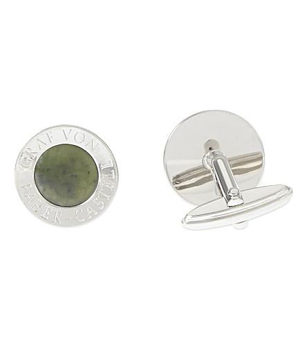 GRAF VON FABER-CASTELL Platinum-plated jade cufflinks