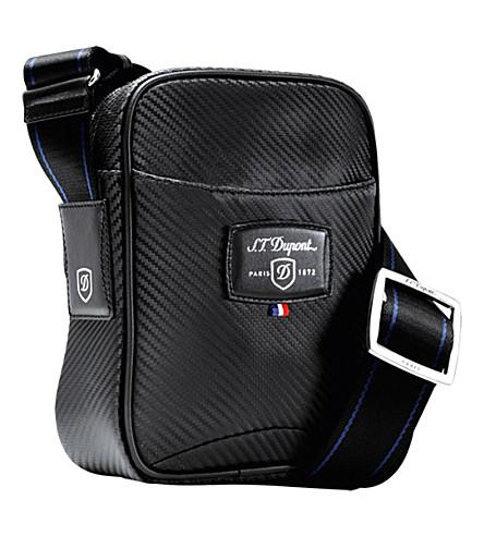 S.T.DUPONT Défi carbon leather small cross shoulder bag