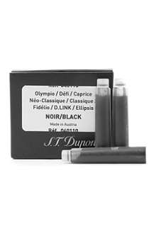 S.T. DUPONT Ink cartridges in black pack of six