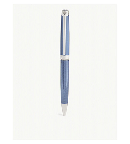 CARAN D'ACHE Silver-plated rhodium coated Léman Grand Bleu ballpoint pen