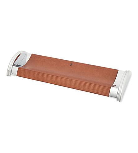 GRAF VON FABER-CASTELL 带金属两端的棕色真皮钢笔托盘