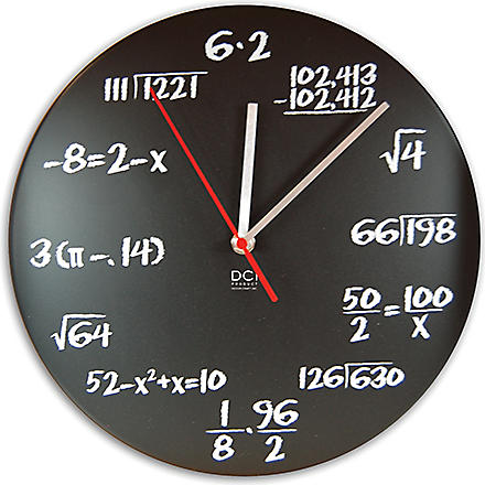 CUBIC Mathematical chalkboard clock