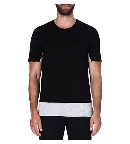 MAISON MARTIN MARGIELA Two-tone cotton T-shirt (Black/grey