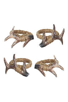 COACH HOUSE Set of 4 antler napkin rings