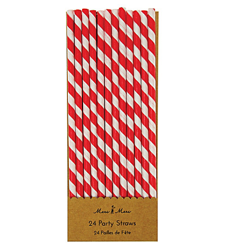 MERI MERI Pack of 24 Red striped straws