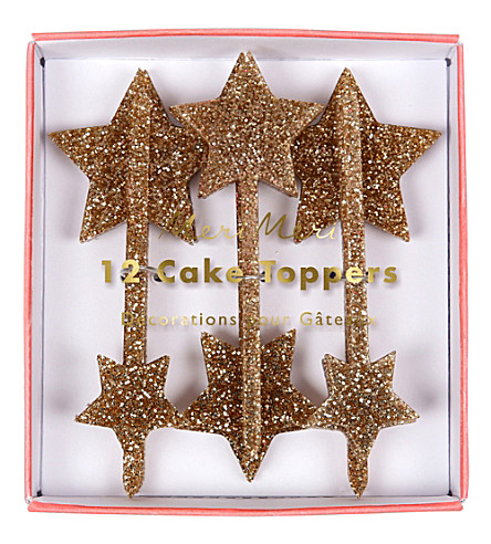 MERI MERI Gold star cake toppers set of 12