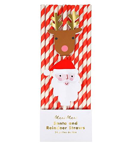 MERI MERI Santa reindeer straws set of 24