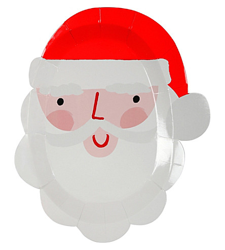 MERI MERI Pack of 12 Santa head party plates