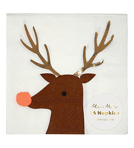 MERI MERI Pack of 16 Reindeer napkins