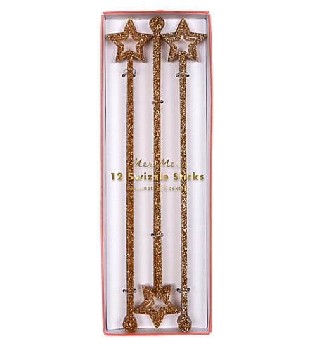 MERI MERI Gold glitter swizzle sticks pack of 12