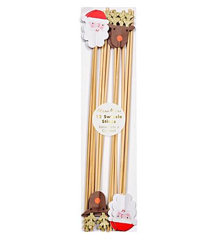 MERI MERI Pack of 12 Santa and Reindeer swizzle sticks