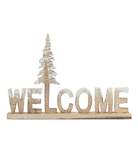 Wooden welcome decoration