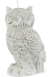 NONE White wash owl candle 17cm