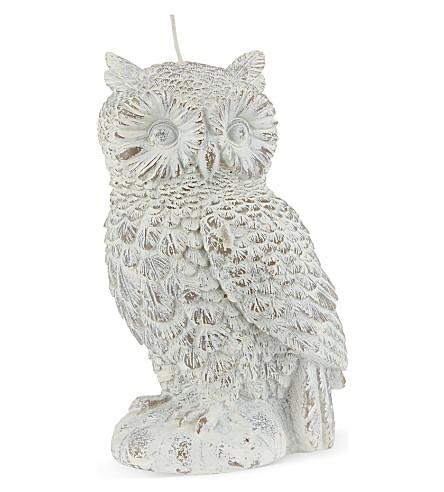 White wash owl candle 17cm