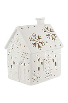NONE Bisque ceramic house tealight holder