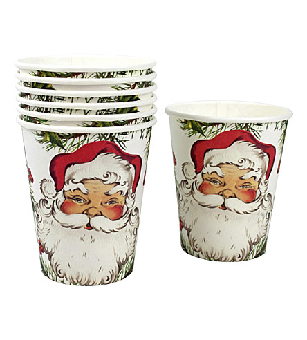 TALKING TABLES Botanical santa paper cups pack of 12