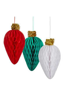 TALKING TABLES Honeycomb hanging decorations 3 pack