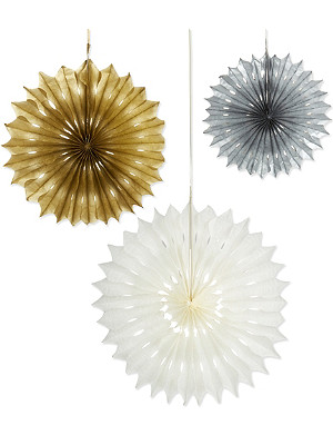 TALKING TABLES Metallic fan decorations 3 pack