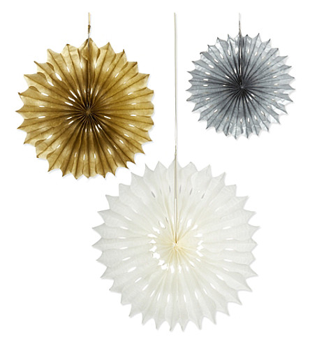 PARTY Metallic fan decorations 3 pack
