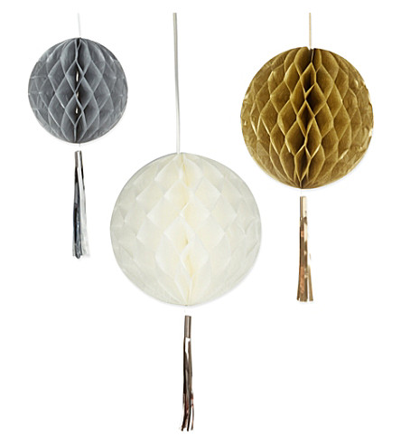 PARTY Honeycomb tassel decorations 3 pack