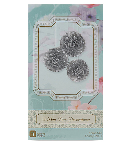TALKING TABLES Paper pom pom decorations 3 pack