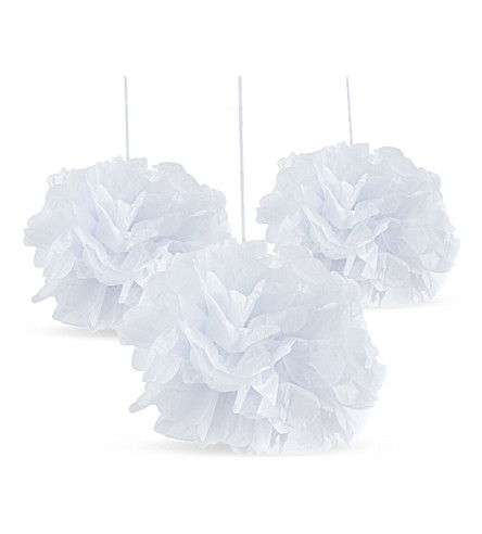 PARTY 3 pack of white pom pom deocrations
