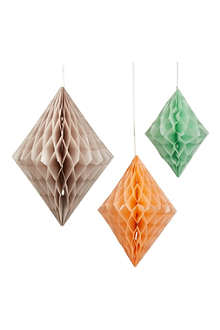 TALKING TABLES Honeycomb diamond decorations 3 pack