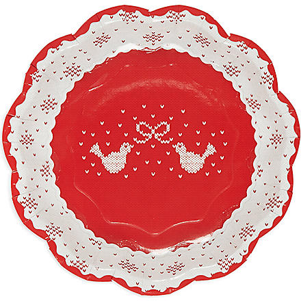 TALKING TABLES Knitted Noel paper plates pack of 8
