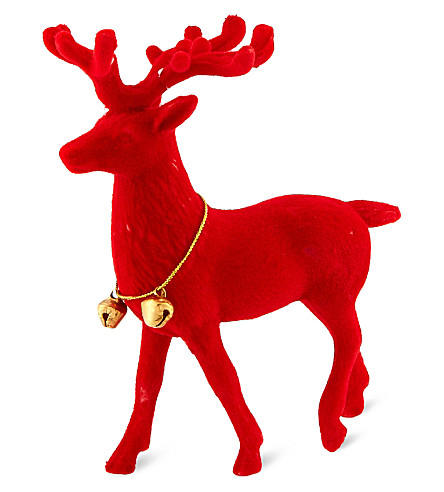 TALKING TABLES Flocked reindeer ornament