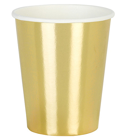 TALKING TABLES Gold paper cups pack of 12