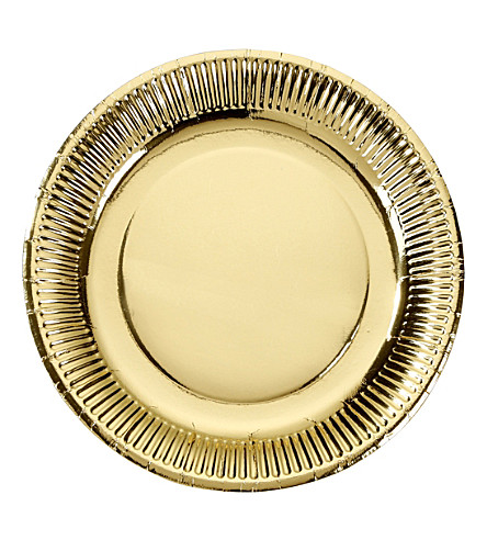 TALKING TABLES Gold foil paper plats pack of 8