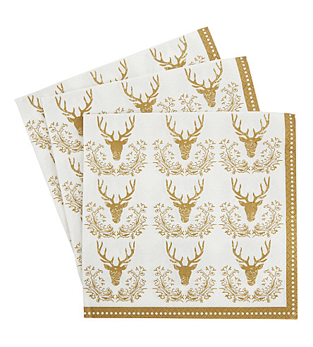 PARTY Golden stag napkin 20 pack