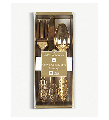 TALKING TABLES Gold plastic cutlery set of 18