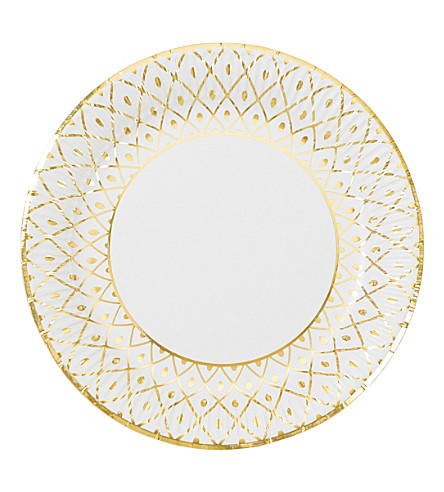 TALKING TABLES Gold deco plate pack of 18