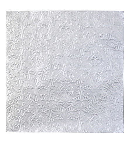 TALKING TABLES Silver embossed napkins